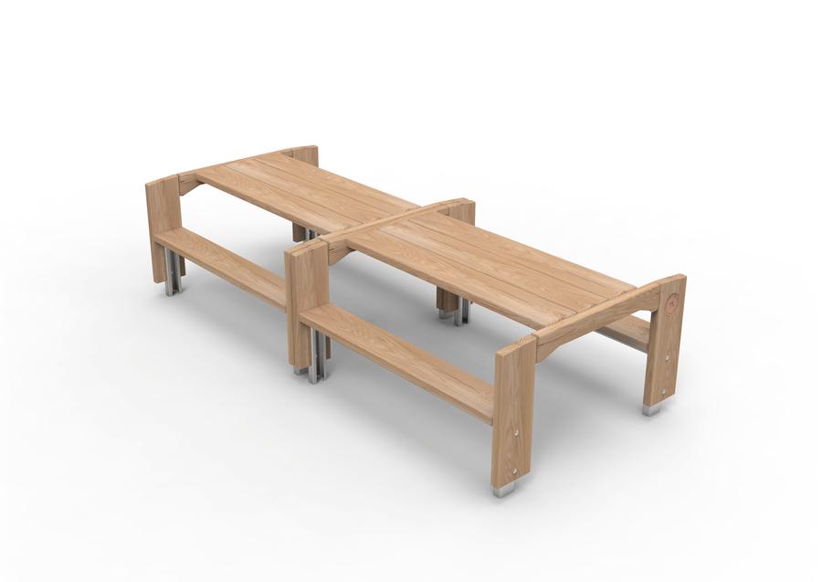 agencement : double table de pique-nique (version banquette)